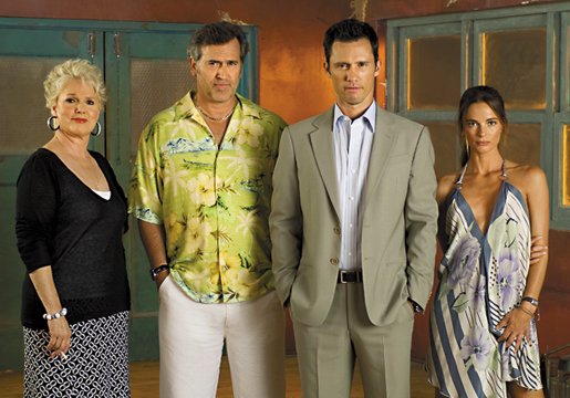 BURN NOTICE -- Pictured: (l-r) Sharon Gless as Madeline, Bruce Campbell as Sam, Jeffrey Donovan as Michael Westen, Gabrielle Anwar as Fiona -- USA Network Photo: Glenn Watson