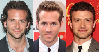 Bradley Cooper (left), Ryan Reynolds (c) Justin Timberlake (right) (Getty)