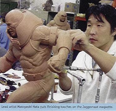 Moto Hata working on Juggernaut maquette