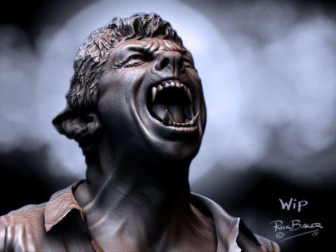 Rick Baker's 'Wolfman' concept art.
