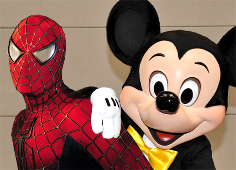 Spiderman and Mickey Mouse