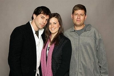 Micah Sloat, Katie Featherston and writer director Oren Peli from Paranormal Activity